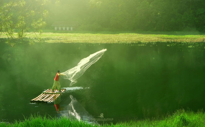 very rarely found in this place Beauty In Nature Ciwidey Day Grass Green Color Growth Lake Men Mode Of Transportation Nature Nautical Vessel One Person Outdoors Plant Real People Reflection Roni Cahyadi Situ Patenggang Tranquility Transportation Tree Water