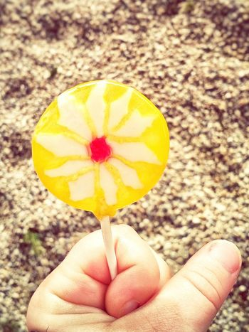 Lolipop Yellow Kid Hand  Detail Food Photography Pastel Power