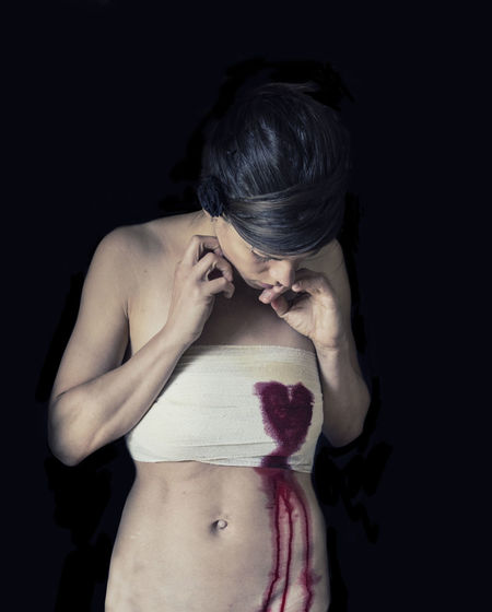 Can A Heart Still Break, Once It's Stopped Beating Bleeding Heart  Bleedingheart Love Abdomen Bandage Bandages Black Background Bleeding Bleeding Hearts Bleeding-heart Bleedinghearts Blood Close-up Day Human Hand Indoors  Lifestyles One Person Real People Shirtless Studio Shot Young Adult Young Women