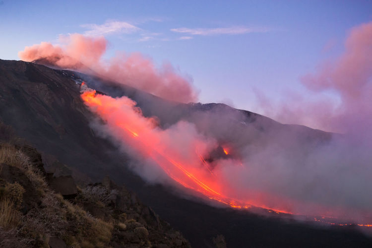Nature Outdoors Beauty In Nature Volcano Lava Geology Mountain Erupting Power In Nature Scenics - Nature Landscape Eruption LavaFlow Etna Etna, Mountain, Sicily, Etna Volcano Sicilia Sicily Ash Terremoto Earthquake Sunset Autumn