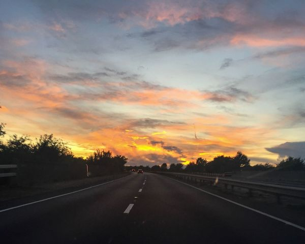 Road sunsets Sunset Car Point Of View Evening Sky