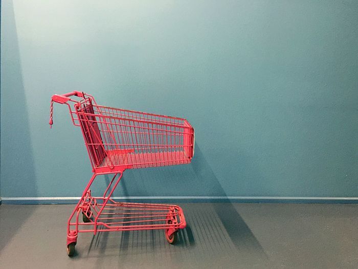 We're S.H.O.P.P.I.N.G. Pink Shopping Trolley Blue Wall Commerce Retail  Shopping Cart