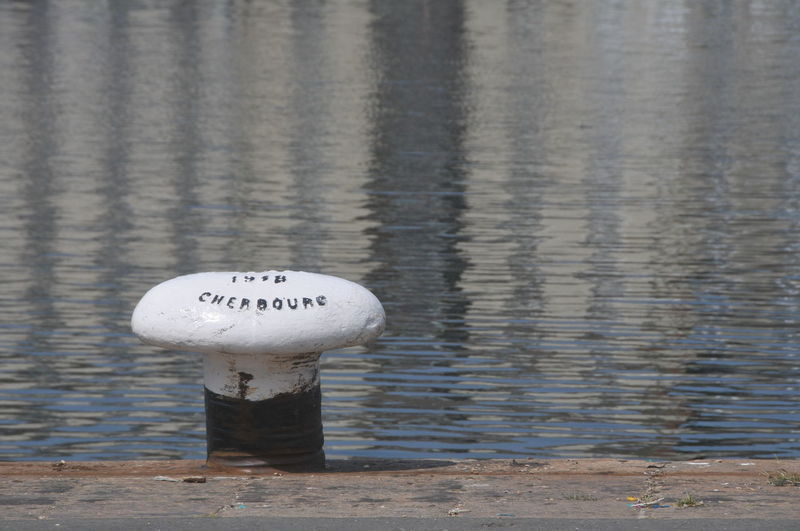 France Harbor Sunlight Blue Bollard Cherbourg Day Focus On Foreground High Angle View No People Reflection Single Object Water White Color