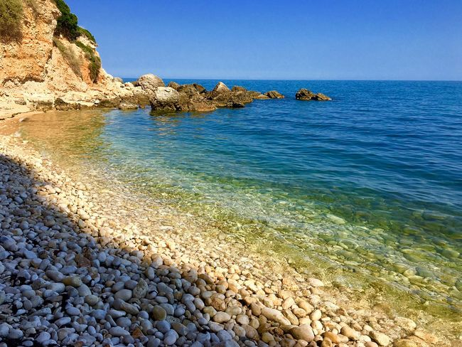 Sea Beach Water Nature Scenics Clear Sky Beauty In Nature Rock - Object Blue Horizon Over Water Tranquility Shore Tranquil Scene Pebble Beach Pebble No People Outdoors Day Clear Sky Mattinata Salento Puglia Italia Italy❤️