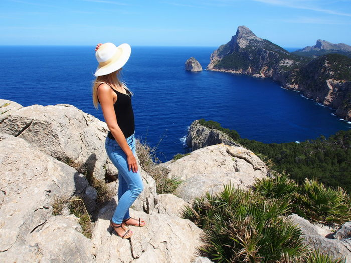 Fashionable woman looking at view in spain