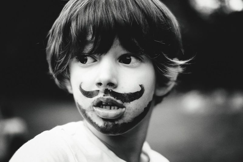 Close-Up Of Boy With Face Paint