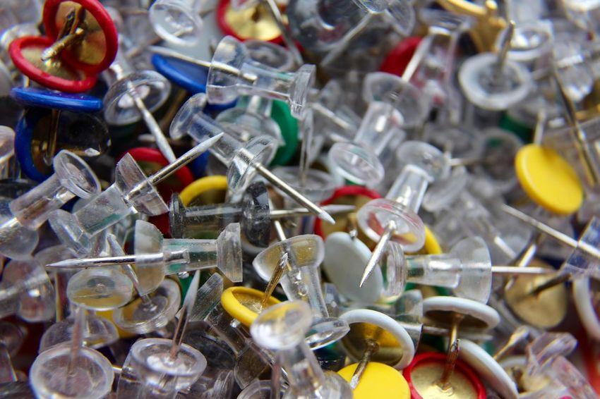 Memories Pins Bowl Close-up Color Display Office Supplies Office Supply Pin Remember Remembering Thumb Tacks Thumbtack Thumbtacks