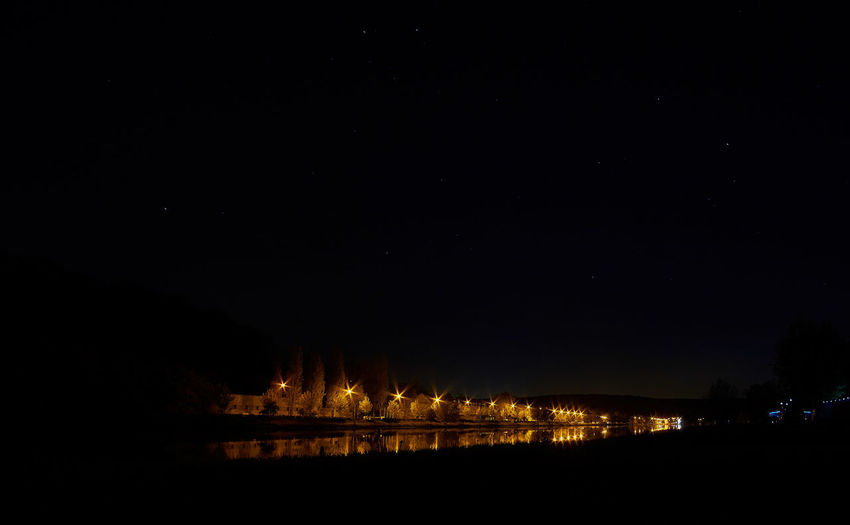 Night on river Moselle Night Nature Light Sky Landscape Glowing Illuminated Tranquility Dark Long Exposure Astronomy Astrophotography Majestic Scenics Beauty In Nature No People Idyllic Tranquil Scene Architecture Built Structure Outdoors Building Exterior Water
