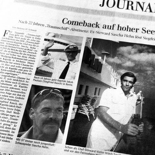 Hilfe! Sascha Hehn kommt zurück! Traumschiff Newspaper Captain Actor Zeitung Saschahehn Kapitän Steward Schauspieler Zeitungsartikel Article Kapitaen