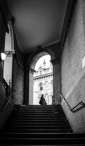 Arch Architecture Building Exterior Built Structure City Life Entrance Façade Holborn Viaduct Incidental People Low Angle View Moving Up Railing Staircase Stairs Steps Steps And Staircase Steps And Staircases The Way Forward