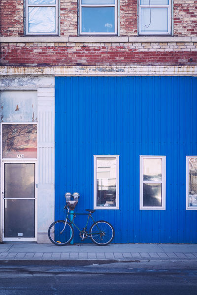 Bicycle Blue Wall Old Old Buildings Parking Meter Rundown Urban Windows