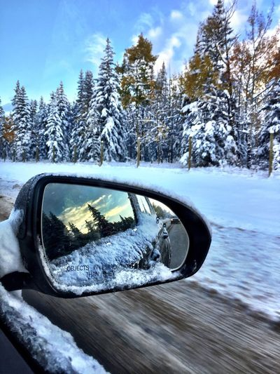 IPhoneography Canada Winter Cold Temperature Snow Tree Nature Reflection Transportation Sky Frozen Day Plant Land Vehicle Motor Vehicle Car No People Mode Of Transportation Beauty In Nature Covering Side-view Mirror Outdoors