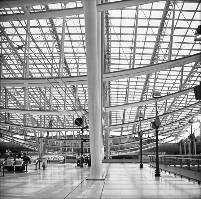 Paris Aeroport Charles De Gaulle Traveling Black & White Pentacon Six TL - Kodak T-Max 100