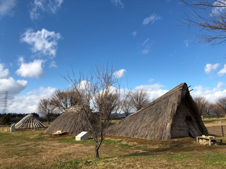 Shiwa castle historical park. The Purist (no Edit, No Filter) Tadaa Community Heian Period Japanese Culture Japan Shiwa Castle Iwate Morioka Pitdwelling Sky Day Thatched Roof Built Structure Tree Outdoors Field Architecture Cloud - Sky Landscape An Eye For Travel