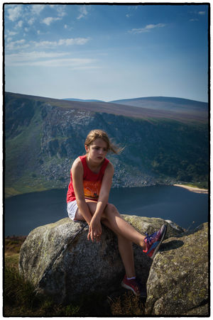 Beauty In Nature Casual Clothing Dublin Mountains Full Length Ireland Irelandinspires Ireland🍀 Leisure Activity Lifestyles Lough Tay Mountain My Niece ❤ Nature Person Portrait Relaxation Rock - Object Scenics Sitting Sky Tranquil Scene Tranquility Vacations Water Wicklow