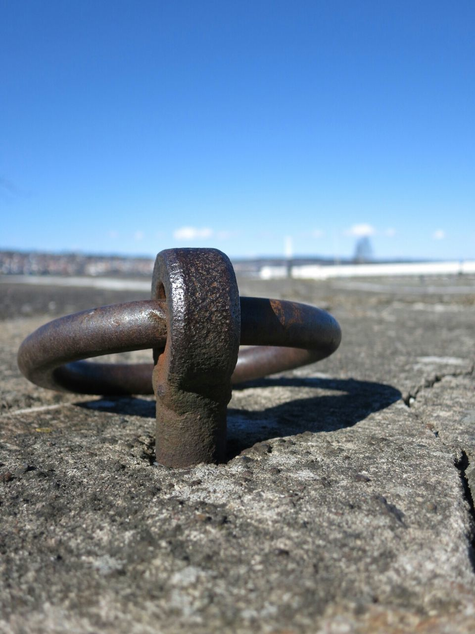 Close-Up Of Mooring Ring In Rock