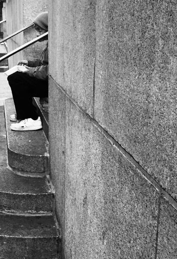 A man eats lunch on the steps of a church, Upper East Side, Manhattan Newyorkcity New York Manhattan Random People Everyday People Snapshots Of Life New York City New York City Life New York City Streets Blackandwhite Black And White Collection  IPhoneography Iphoneonly