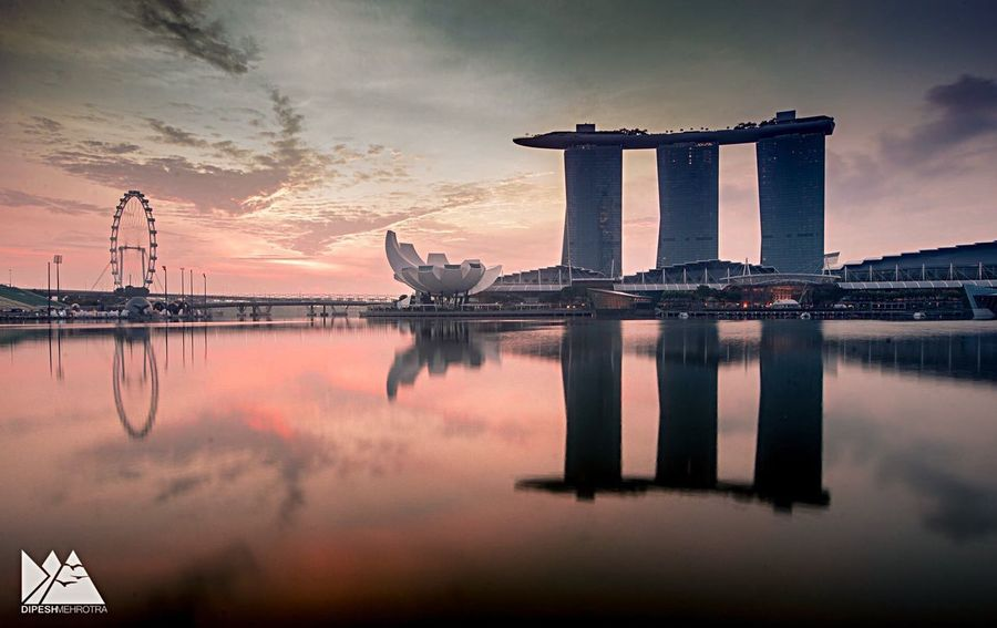 Morning Singapore Sunset Reflection Sky Water Cloud - Sky Built Structure Architecture Travel Destinations Silhouette No People Beauty In Nature Outdoors Nature Sea Building Exterior City Day SONY A7ii Sonyalpha EyeEmNewHere EyeEm Urban Skyline Ferris Wheel Skyscraper Cityscape Break The Mold