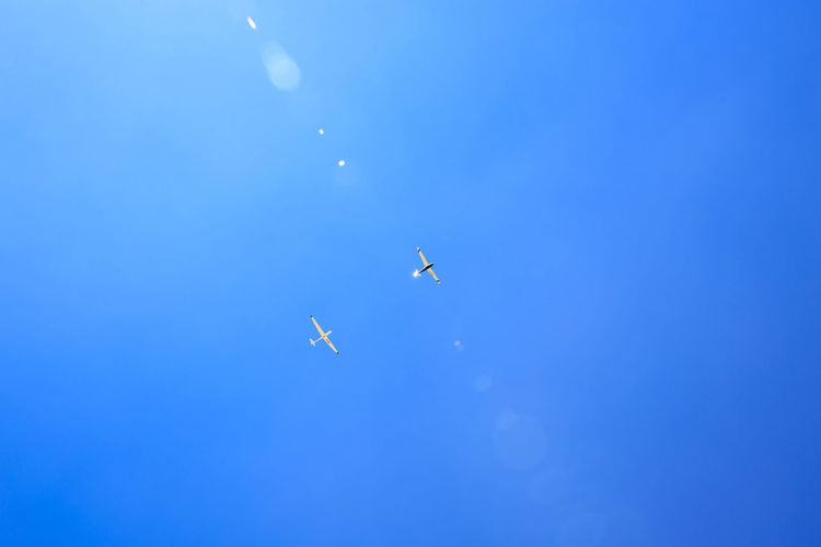 low angle view of two airplanes flying in sky Beauty In Nature Blauer Himmel Blue Copy Space Day Feld Flugzeuge Flying Juli Lens Flares Low Angle View Mid-air Nature No People Outdoors Sky Spread Wings Vertebrate Zwei The Traveler - 2018 EyeEm Awards