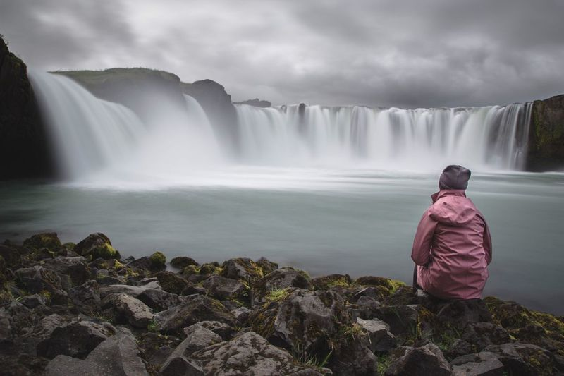 Godafoss Waterfall Long Exposure Nature Motion Rear View Real People Water Beauty In Nature Leisure Activity Standing Sky Outdoors Day Rock - Object One Person Scenics Iceland Lifestyles Full Length (null) The Week On EyeEm