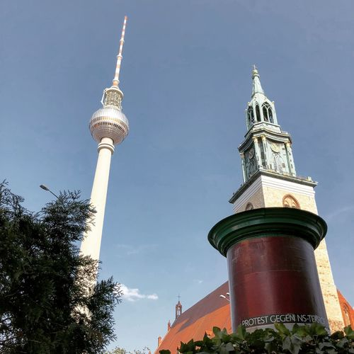 Berlin Architecture Built Structure Tower Low Angle View Building Exterior Travel Destinations Tall - High Sky Building Belief Religion Spire  Travel No People Tourism Nature City Tree Plant Day