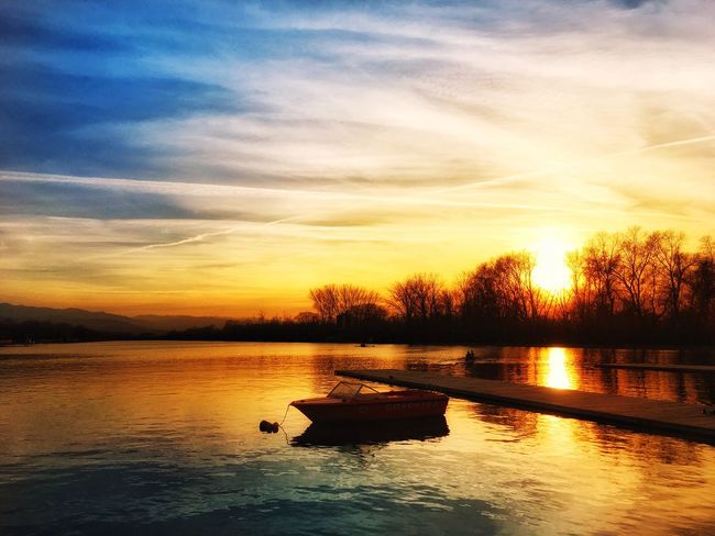 Sunset Reflection Rowing Channel Plovdiv Bulgaria Water Sky Nature Boat