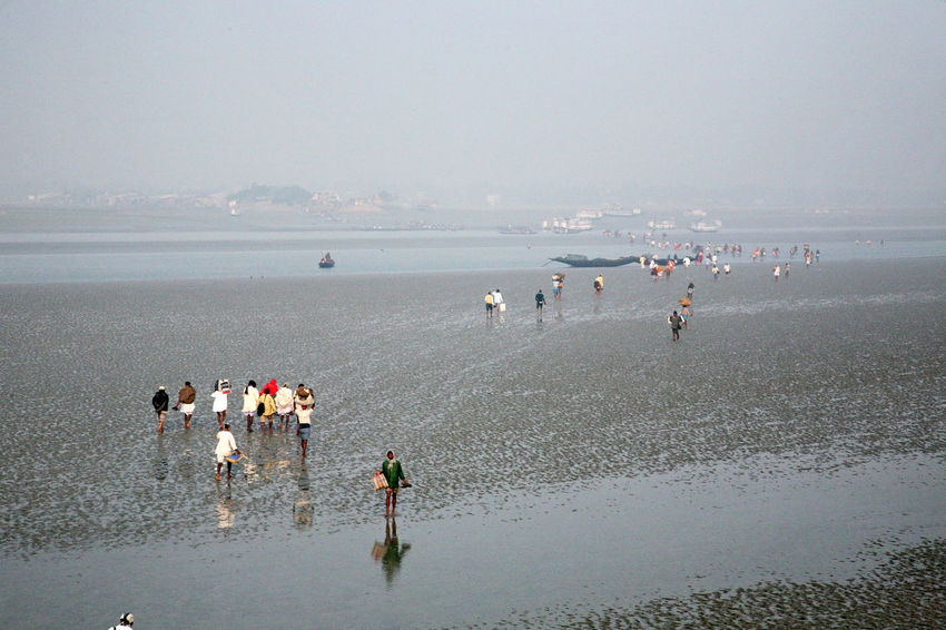 During low tide the water in the river Malta falls so low that people walk to the other shore in Canning Town, India on January 17, 2009. Canning Canning Town Coast Ebb India Large Group Of People Low Low Tide Malta River Mud Nature People Shore Tidal Tide Town Walk Water West Bengal