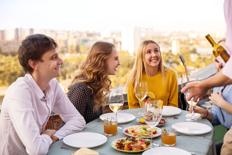 Group of people at restaurant table