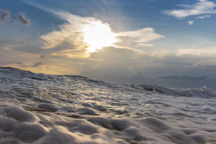 High sea waves and morning sky Perspectives On Nature Beauty In Nature Cloud - Sky Cold Temperature Day Iceberg Nature No People Outdoors Scenics Sea Sky Sunlight Sunset Tranquil Scene Tranquility Water Wave