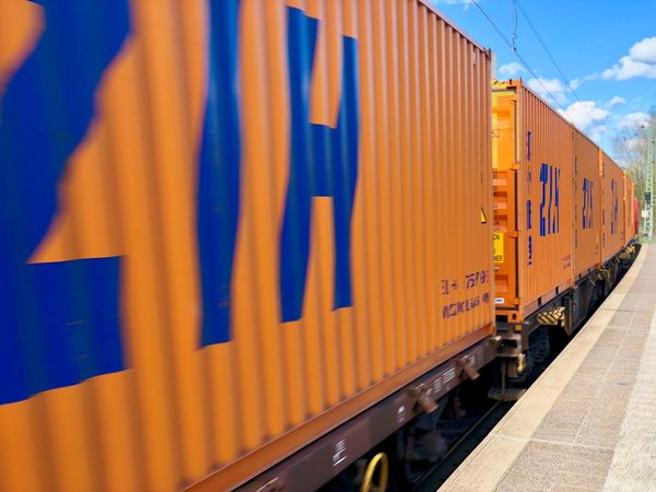 Speeding Train Train Ride Blue Sky Orange Color Containers Train Love Freight Transportation Transportation Cargo Container Business Mode Of Transportation Rail Transportation Train - Vehicle Train Track Railroad Track Text Container Freight Train Blue