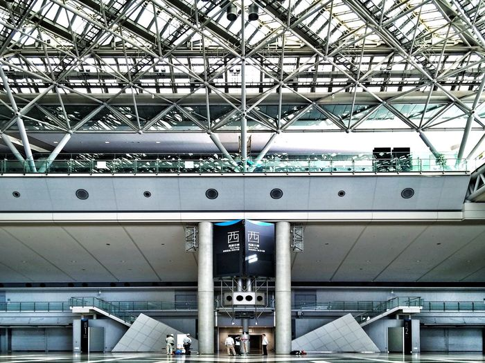 Low angle view of illuminated railroad station platform