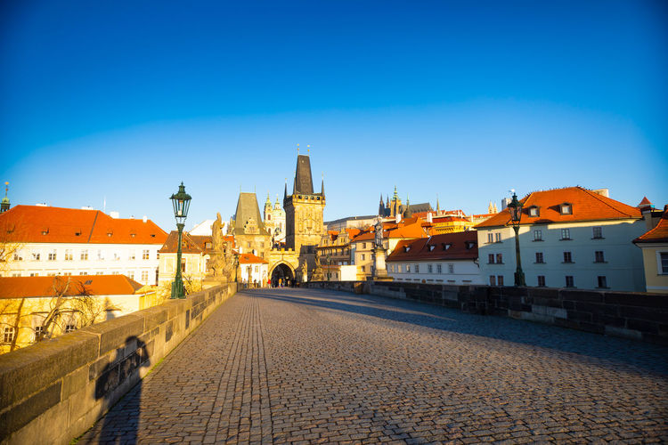 Czech Republic Prague Architecture Belief Blue Building Building Exterior Built Structure City Clear Sky History Nature Outdoors Place Of Worship Real People Religion Sky Spirituality Street Travel Travel Destinations