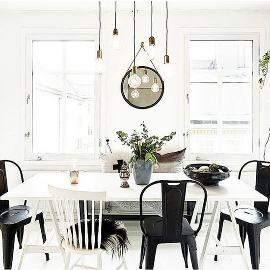 Morning!🌞 Black is your friend in an all White space. Scandinaviandesign Style Interior Design Home Decor Lighting Dining Table Textiles Tolixchairs Texture image via @mydomaine