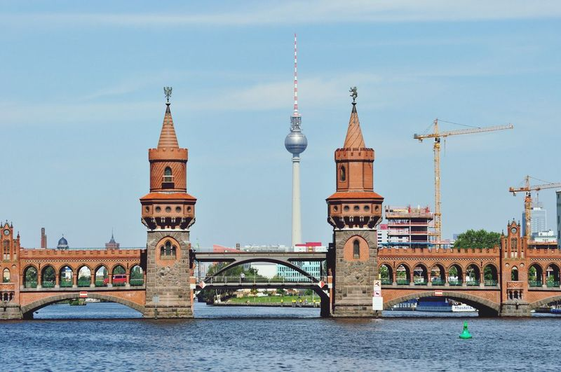 Oberbaum Bridge With Communications Tower In Background