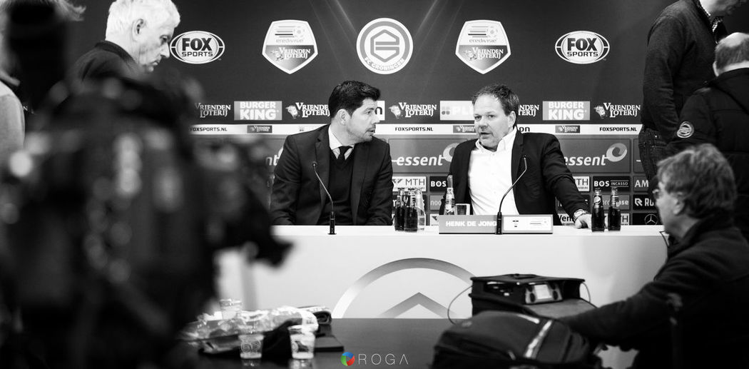 FC Groningen 2-0 SC Cambuur managers Erwin van de Looi (FC Groningen) and Henk de Jong (SC Cambuur) discussing the game after the press conference. Fcgroningen Sccambuur Grocam Voetbal Groningen Euroborg, Groningen, The Netherlands Soccer Eredivisie Foxsports Sports Photography Blackandwhite February Showcase: February