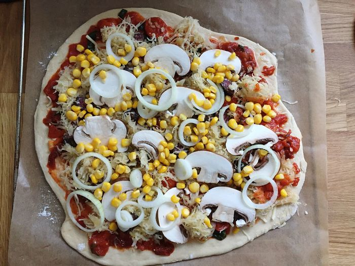 Pizza Pizza Time Food Freshness Food And Drink Cooking Close-up Wood Cheese Dough Pastry Vegetable Mushrooms Fungi Tomato Corn Maize Sauerkraut Sourcrout Sausage Onion Baking Baking Paper Bio Organic