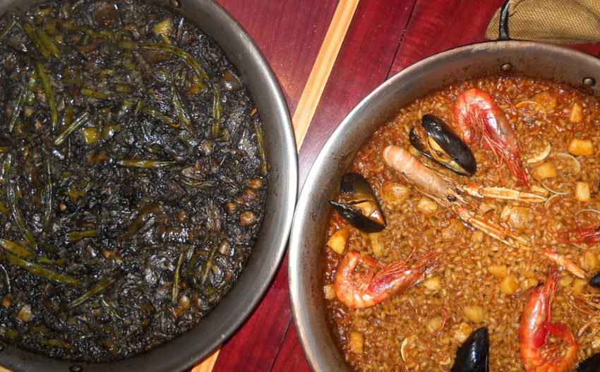 Barcelona El Racò De L'aguir Mai 2017 Black Paella Close-up Cooked Fish Paella Food Indoors  Indoors  Meal No People Paellas Ready-to-eat Table