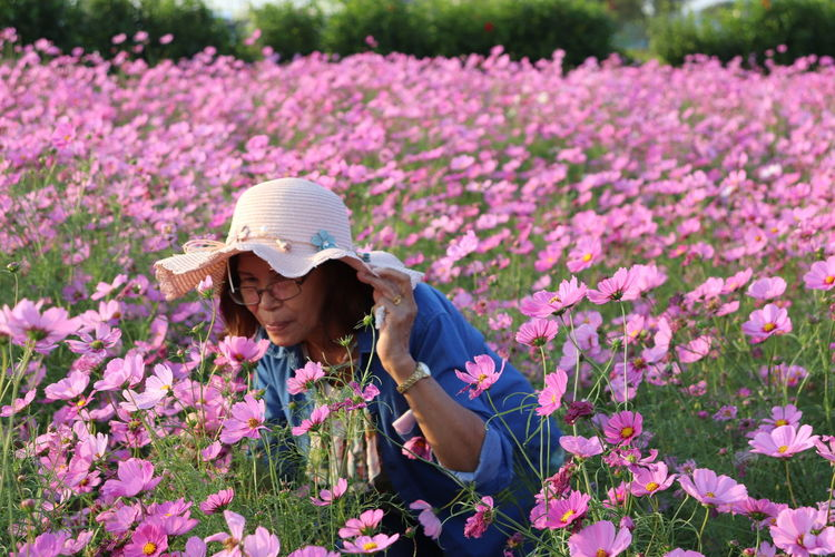 Portrait of woman by pink flowering plants