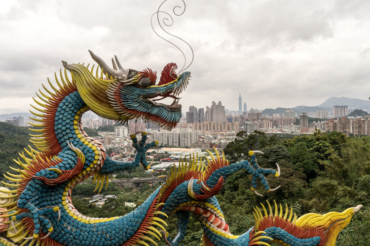 Animal Representation ASIA Chinese Dragon Cityscape Cloud - Sky Curve Day Dragon Dragon Formosa New Taipei City No People Outdoors Sculpture Sky Statue Statue Taipei Taipei,Taiwan Taiwan Taiwanese Temple Templebuliding Travelphotography View
