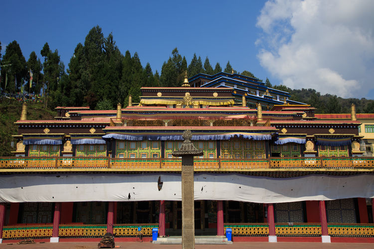India Indian Travel Architecture Belief Building Building Exterior Built Structure Cloud - Sky Day Low Angle View Nature No People Outdoors Place Of Worship Plant Religion Roof Shrine Sikkim Sky Spirituality Temple Tree