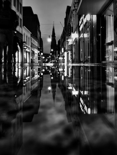 Capture The Moment Reflection Black And White Blackandwhite Eindhoven Nightphotography Nightscape Night Lights Iphone6 The Street Photographer - 2017 EyeEm Awards