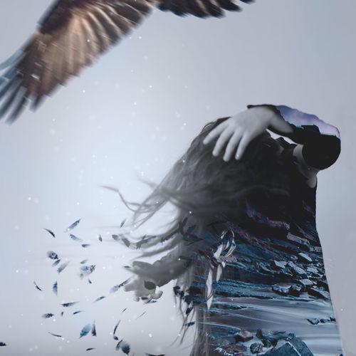 Stones Alone Bird Blue Cry Girl Lonely Sad Sadness Working грусть крылья Одиночество перья печаль стресс тоска