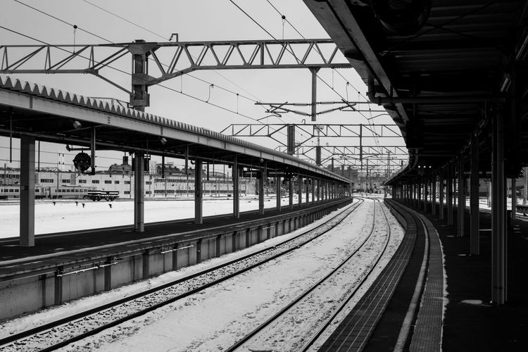 Empty train track at Noboribetsu. Black & White Black And White Hokkaido Japan Noboribetsu Snow Train Train Tracks Travel Travel Photography Winter