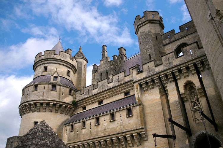 Castle France Wall Battlement Blue Sky And Clouds Defense Fort Fortification Fortress History Imposant Medieval Middle Ages Monument Monumental  Picardy Pierrefonds