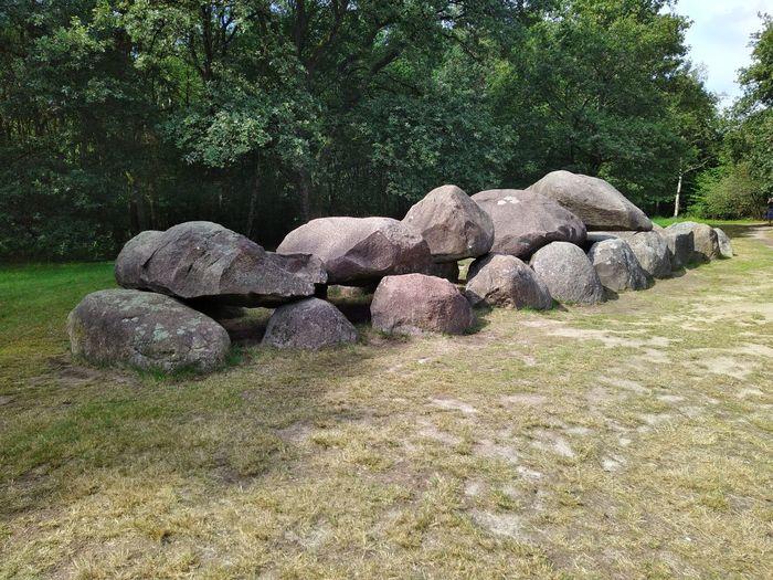 Stack of rocks on field