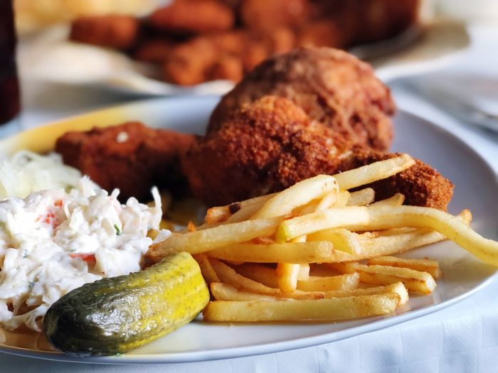 Homemade fried Chicken Ready-to-eat Food And Drink Food Potato Plate Unhealthy Eating Prepared Potato