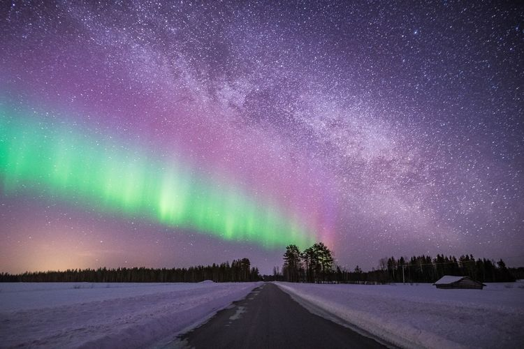Northern Lights and Milky Way at the same line Night Winter Scenics - Nature Beauty In Nature Snow Space Cold Temperature Sky Astronomy Star - Space Tranquility Environment Road No People Tranquil Scene Nature Direction Transportation Galaxy Purple Aurora Polaris Milky Way Lapland Finland Landscape Landscape_Collection Nightphotography Scenics Exploring Universe Springtime Travel Travel Destinations Aurora Borealis Northern Lights Barn Clear Sky Green Color Light And Shadow Photography Nature_collection Taking Photos Hello World Hanging Out Outdoors Atmospheric Mood North Arctic Moody Sky Beautiful