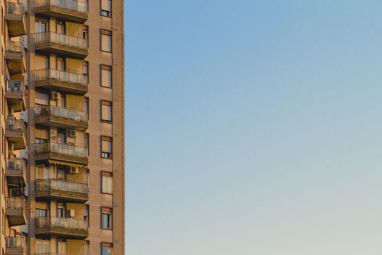 60's Architecture City Clear Sky Modern Bluesky Building Clean Colorful Italy Minimal No People Outdoors Pastel Window