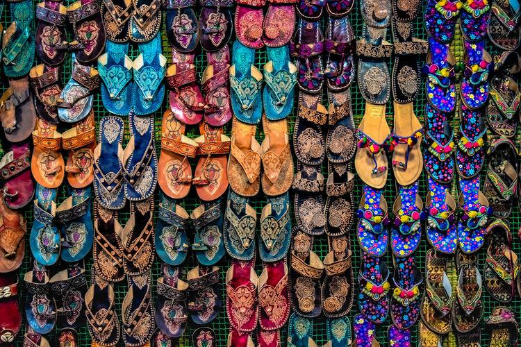 Full frame shot of footwear for sale in market