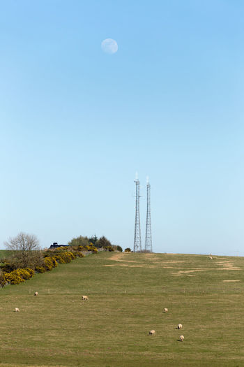 Communications towers on field against clear sky